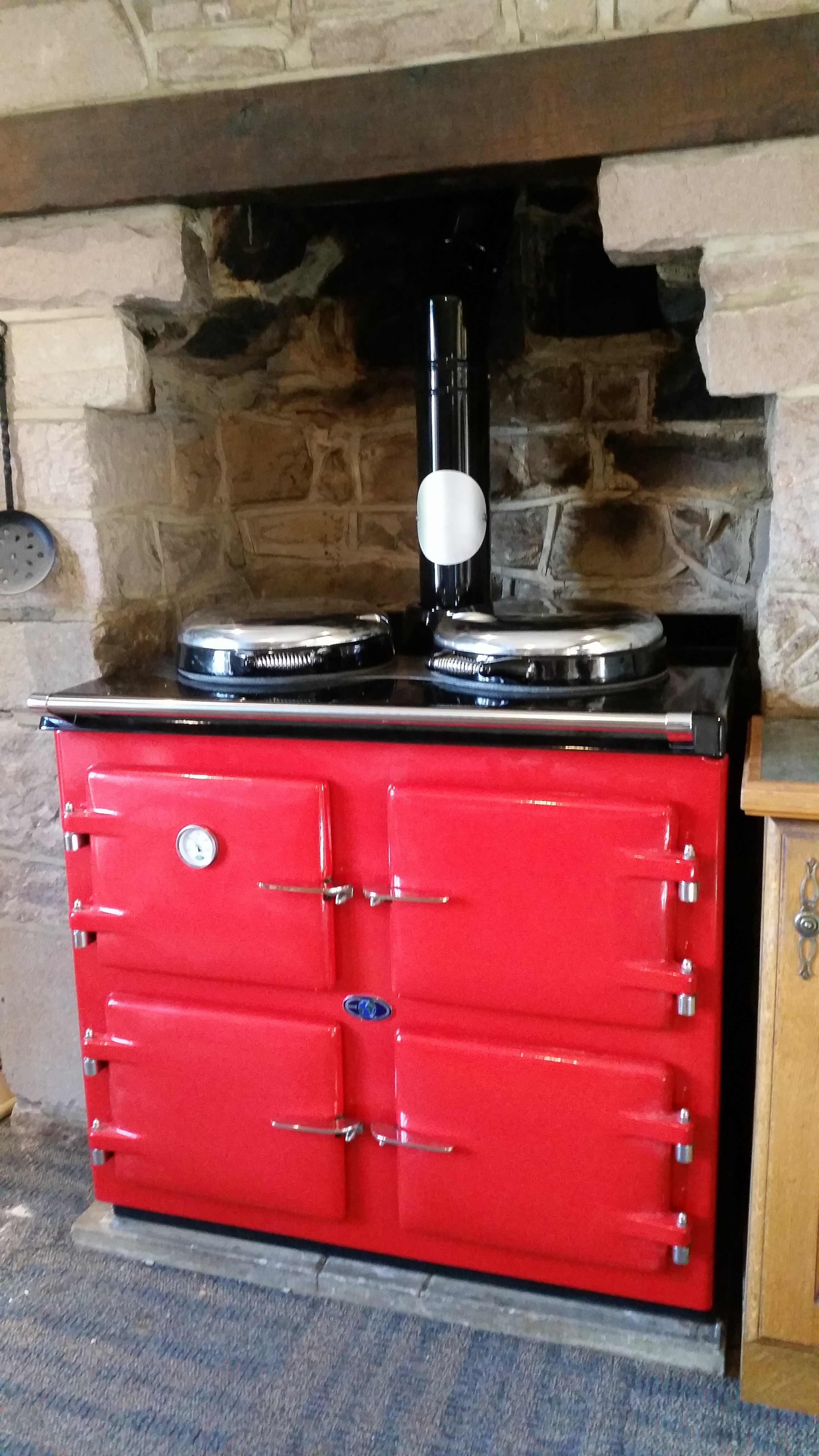 3 oven AGA cooker Red.