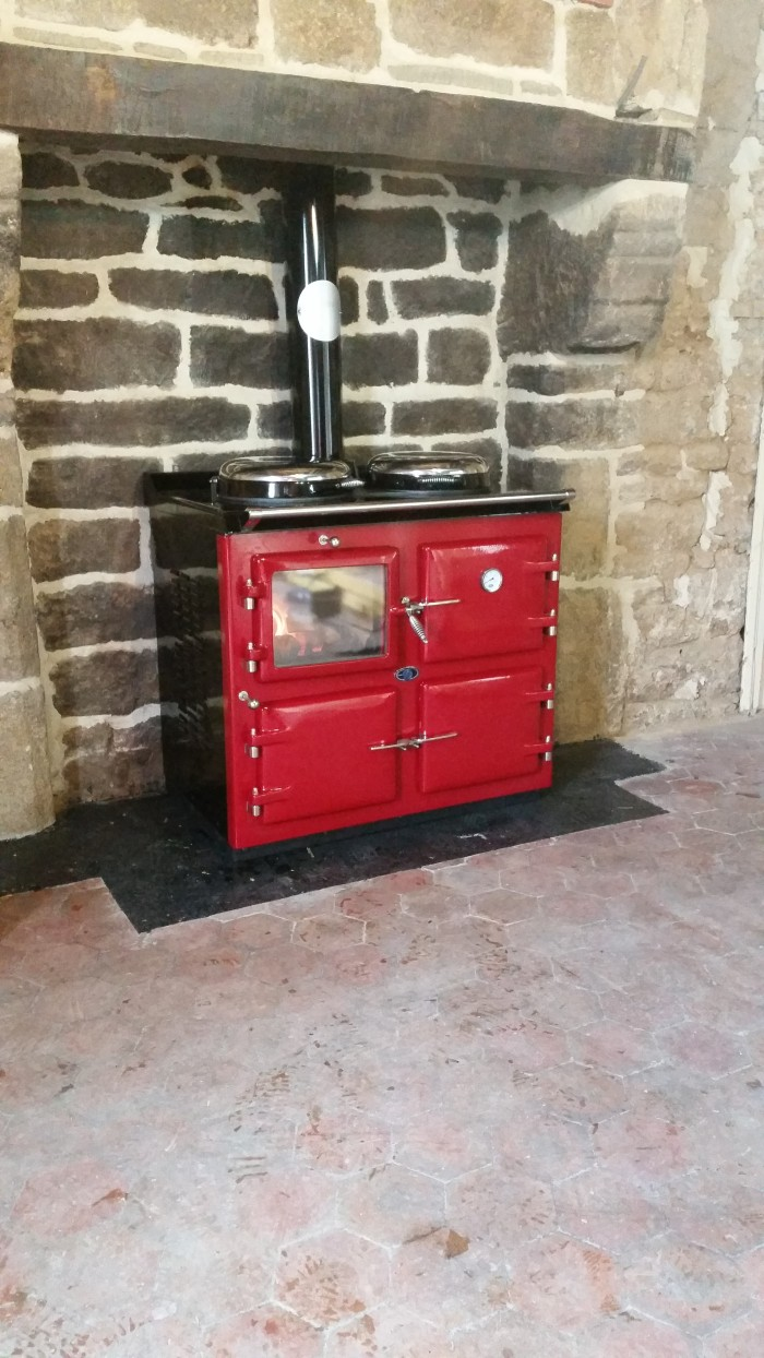 AGA wood cooker 3 oven, in claret