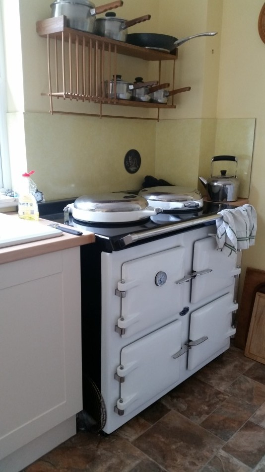 AGA Cooker, White. 3 oven